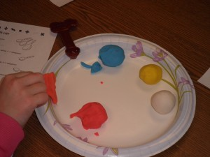 We mixed play-doh to learn about fractions